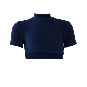 HEATHER - NAVY OR WINE VELOUR SHORT SLEEVE CROP TOP - SIZE 0 Dancewear Dancers World Navy Blue Velour 0 (Age 4-5)