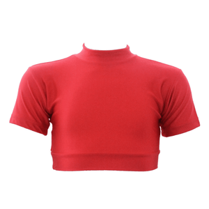 HEATHER - SHORT SLEEVE POLO NECK CROP TOP Dancewear Dancers World Dark Red 0 (Age 4-6)