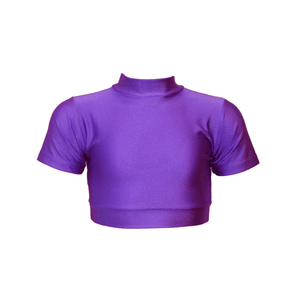 HEATHER - SHORT SLEEVE POLO NECK CROP TOP Dancewear Dancers World Purple 5 (Size 12-14)