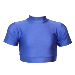 HEATHER - SHORT SLEEVE POLO NECK CROP TOP Dancewear Dancers World Royal 0 (Age 4-6)