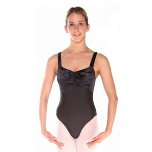 IRIS - BLACK WIDE STRAP RUCHED FRONT LEOTARD - SIZE 6 (DRESS SIZE 14-16) Dancewear Arabesque