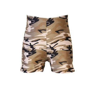 JAMIE - CAMOUFLAGE ARMY PRINT HOTPANTS / SHORTS - SIZE 2 AGE 8-9 Dancewear Dancers World Camouflage 2 (Age 8-9)
