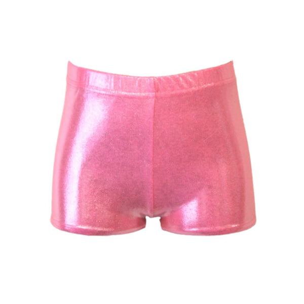 JAMIE - PALE PINK SHINE HIPSTER HOTPANTS / SHORTS Dancewear Dancers World Pale Pink Shine 0 (Age 4-5)