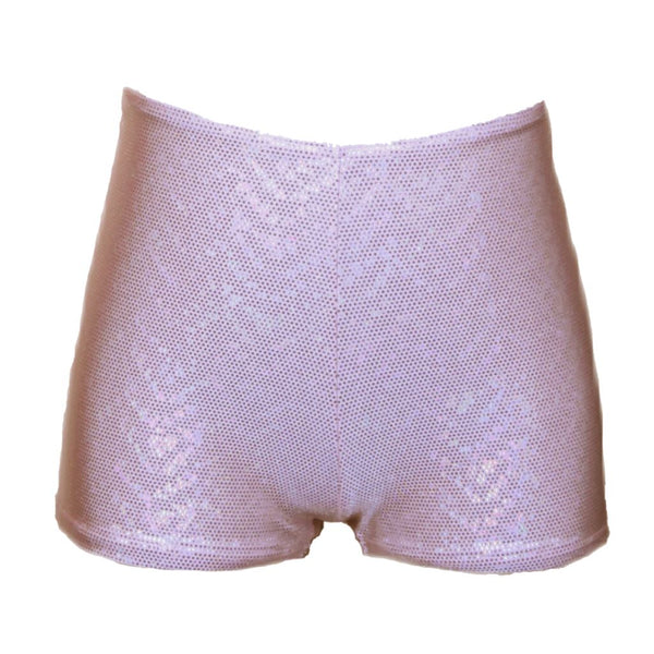 JAMIE - PALE PINK & SILVER HOLOGRAM HOTPANTS / SHORTS Dancewear Dancers World