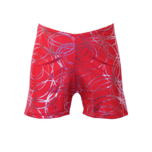 JAMIE - RED SWIRL HOTPANTS / SHORTS Dancewear Dancers World