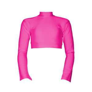 JEMMA - LONG FLARED SLEEVE POLO NECK CROP TOP Dancewear Dancers World