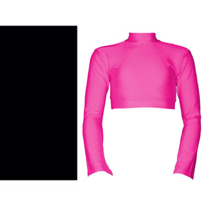 JEMMA - LONG FLARED SLEEVE POLO NECK CROP TOP Dancewear Dancers World Black 2 (Age 8-10)