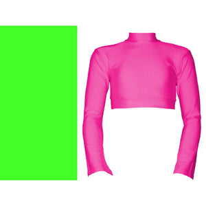 JEMMA - LONG FLARED SLEEVE POLO NECK CROP TOP Dancewear Dancers World Fluorescent Green 3A (Age 10-12)
