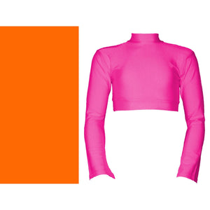 JEMMA - LONG FLARED SLEEVE POLO NECK CROP TOP Dancewear Dancers World Fluorescent Orange 5 (Size 12-14)