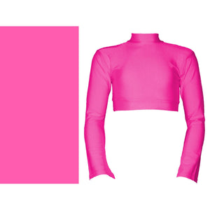JEMMA - LONG FLARED SLEEVE POLO NECK CROP TOP Dancewear Dancers World Fluorescent Pink 0 (Age 4-6)