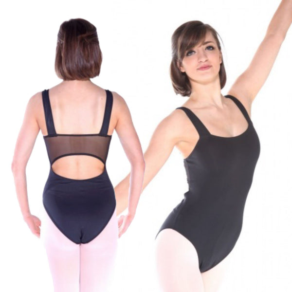 KATIE - BLACK MERYL MESH BACK CAMISOLE LEOTARD Dancewear Arabesque