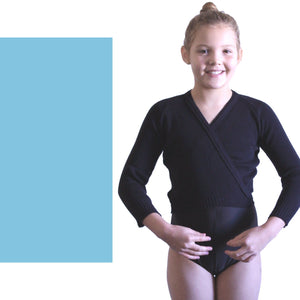 "KNITTED ACRYLIC CROSSOVER BALLET / ICE SKATING CARDIGAN Dancewear Dancers World Aqua Marine 22"" chest"
