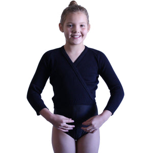 "KNITTED ACRYLIC CROSSOVER BALLET / ICE SKATING CARDIGAN Dancewear Dancers World Black 22"" chest"