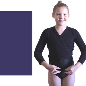 "KNITTED ACRYLIC CROSSOVER BALLET / ICE SKATING CARDIGAN Dancewear Dancers World Navy Blue 22"" chest"