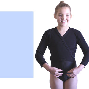 "KNITTED ACRYLIC CROSSOVER BALLET / ICE SKATING CARDIGAN Dancewear Dancers World Pale Blue 22"" chest"