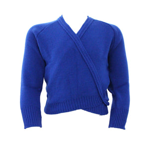 "KNITTED ACRYLIC CROSSOVER BALLET / ICE SKATING CARDIGAN Dancewear Dancers World Royal Blue 22"" chest"