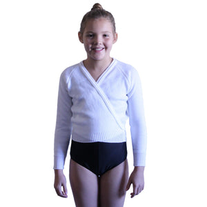 "KNITTED ACRYLIC CROSSOVER BALLET / ICE SKATING CARDIGAN Dancewear Dancers World White 22"" chest"