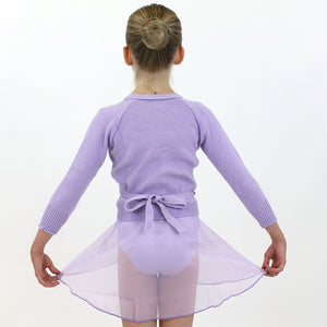 "KNITTED ACRYLIC CROSSOVER BALLET / ICE SKATING CARDIGAN Knitwear Dancers World Lilac 22"" chest"