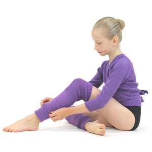 "KNITTED ACRYLIC CROSSOVER BALLET / ICE SKATING CARDIGAN Knitwear Dancers World Purple 22"" chest"