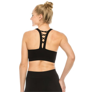 LACE UP BACK SPORTS BRA CROP TOP Dancewear Kurve Black X Small - Small Adult