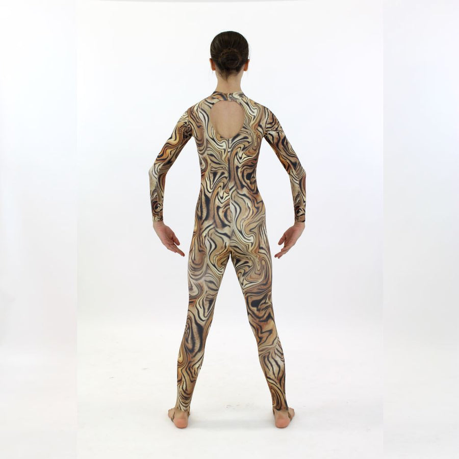 LAUREN - TIGER PRINT LONG SLEEVE POLO NECK CATSUIT.....TEXT Dancewear Click Dancewear