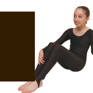LEIGH - LONG SLEEVE CATSUIT/UNITARD - ANIMAL COLOURS Dancewear Dancers World Chocolate Brown 00 (Age 2-4)