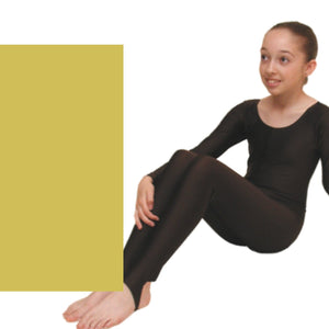 LEIGH - LONG SLEEVE CATSUIT/UNITARD - ANIMAL COLOURS Dancewear Dancers World Deep Gold 00 (Age 2-4)