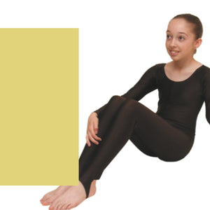 LEIGH - LONG SLEEVE CATSUIT/UNITARD - ANIMAL COLOURS Dancewear Dancers World Pale Gold 00 (Age 2-4)