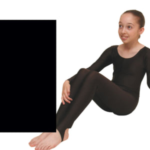 LEIGH - LONG SLEEVE CATSUIT/UNITARD Dancewear Dancers World Black 00 (Age 2-4)