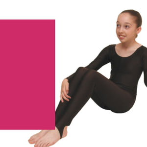 LEIGH - LONG SLEEVE CATSUIT/UNITARD Dancewear Dancers World Cerise 00 (Age 2-4)
