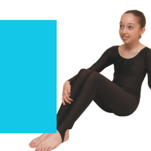 LEIGH - LONG SLEEVE CATSUIT/UNITARD Dancewear Dancers World kingfisher 00 (Age 2-4)