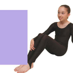 LEIGH - LONG SLEEVE CATSUIT/UNITARD Dancewear Dancers World Lilac 00 (Age 2-4)