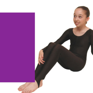 LEIGH - LONG SLEEVE CATSUIT/UNITARD Dancewear Dancers World Purple 00 (Age 2-4)