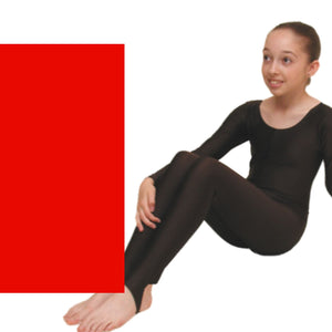 LEIGH - LONG SLEEVE CATSUIT/UNITARD Dancewear Dancers World Red 00 (Age 2-4)
