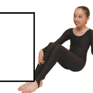 LEIGH - LONG SLEEVE CATSUIT/UNITARD Dancewear Dancers World White 00 (Age 2-4)