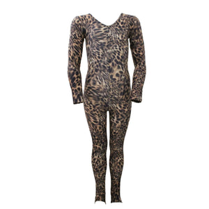 LEIGH - LONG SLEEVE COUGAR ANIMAL PRINT CATSUIT / UNITARD Dancewear Dancers World Cougar 00 (Age 2-4)