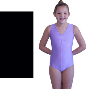 LOUISE - SLEEVELESS GATHERED FRONT LEOTARD - BOLD COLOURS Dancewear Dancers World Black 000 (Toddler)