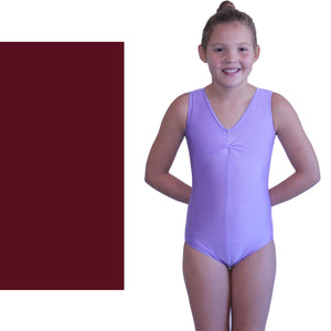 LOUISE - SLEEVELESS GATHERED FRONT LEOTARD - BOLD COLOURS Dancewear Dancers World Burgundy 00 (Age 2-4)