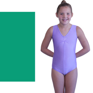 LOUISE - SLEEVELESS GATHERED FRONT LEOTARD - BOLD COLOURS Dancewear Dancers World Jade Green 00 (Age 2-4)