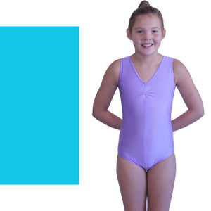 LOUISE - SLEEVELESS GATHERED FRONT LEOTARD - BOLD COLOURS Dancewear Dancers World Kingfisher 000 (Toddler)