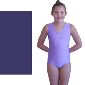 LOUISE - SLEEVELESS GATHERED FRONT LEOTARD - BOLD COLOURS Dancewear Dancers World Navy Blue 00 (Age 2-4)
