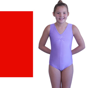LOUISE - SLEEVELESS GATHERED FRONT LEOTARD - BOLD COLOURS Dancewear Dancers World Red 00 (Age 2-4)