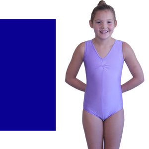 LOUISE - SLEEVELESS GATHERED FRONT LEOTARD - BOLD COLOURS Dancewear Dancers World Royal Blue 00 (Age 2-4)