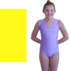 LOUISE - SLEEVELESS GATHERED FRONT LEOTARD - BOLD COLOURS Dancewear Dancers World Yellow 00 (Age 2-4)