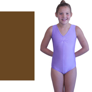 LOUISE - SLEEVELESS GATHERED FRONT LEOTARD Dancewear Dancers World Brown 00 (Age 2-4)