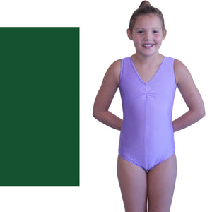 LOUISE - SLEEVELESS GATHERED FRONT LEOTARD Dancewear Dancers World Forest Green 00 (Age 2-4)