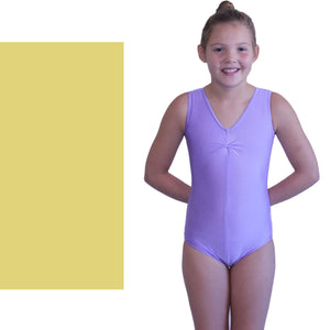 LOUISE - SLEEVELESS GATHERED FRONT LEOTARD Dancewear Dancers World Gold 0 (Age 4-6)