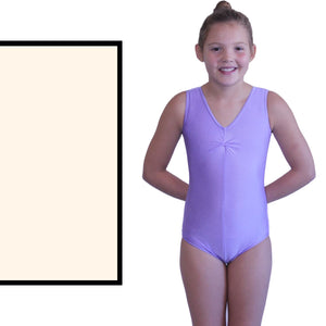 LOUISE - SLEEVELESS GATHERED FRONT LEOTARD Dancewear Dancers World Ivory 00 (Age 2-4)