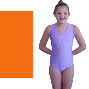 LOUISE - SLEEVELESS GATHERED FRONT LEOTARD Dancewear Dancers World Orange 00 (Age 2-4)