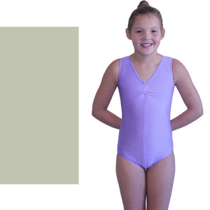 LOUISE - SLEEVELESS GATHERED FRONT LEOTARD Dancewear Dancers World Silver Grey 00 (Age 2-4)
